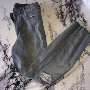 Mother grey distressed jeans